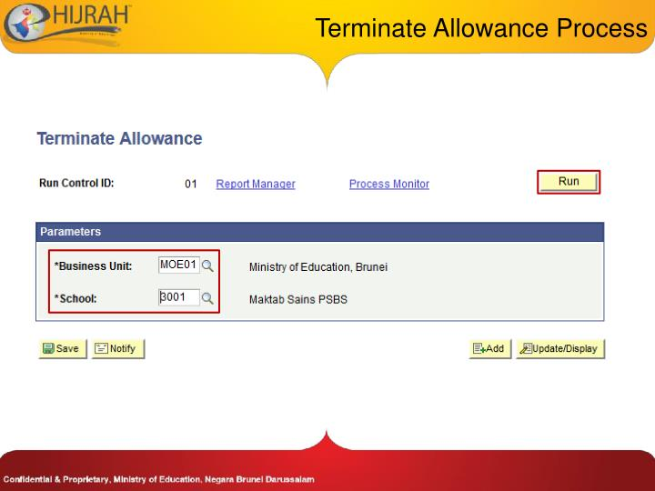Terminate Allowance Process