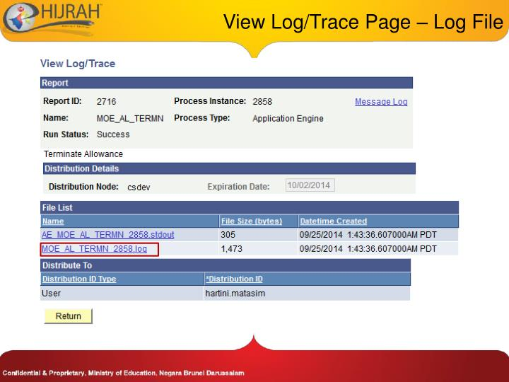 View Log/Trace Page – Log File