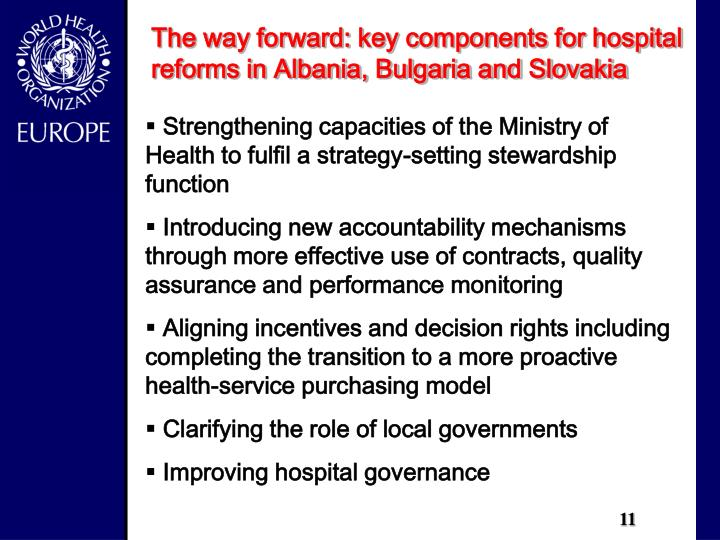 The way forward: key components for hospital reforms in Albania, Bulgaria and Slovakia
