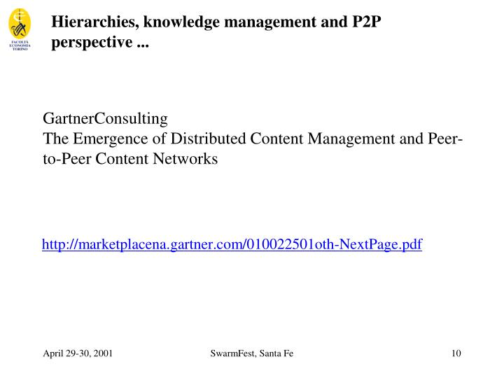 Hierarchies, knowledge management and P2P perspective ...