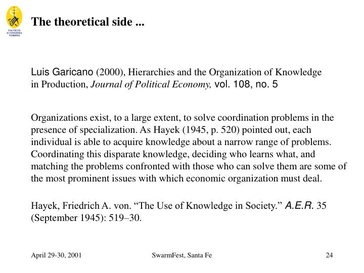 The theoretical side ...