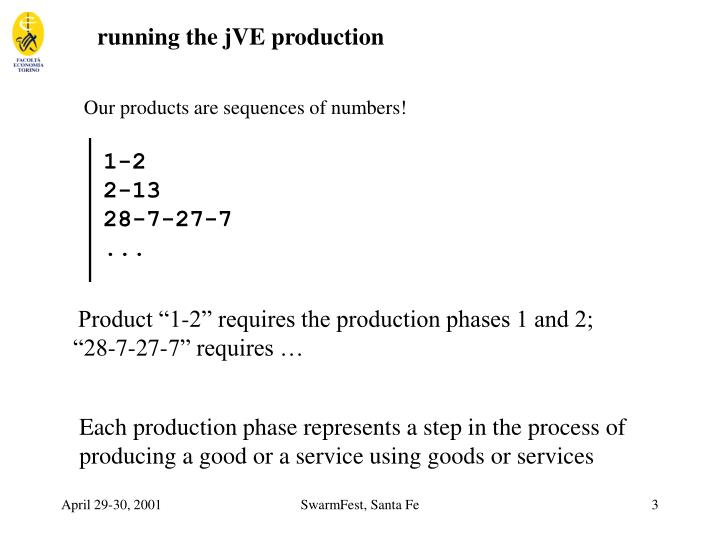 running the jVE production