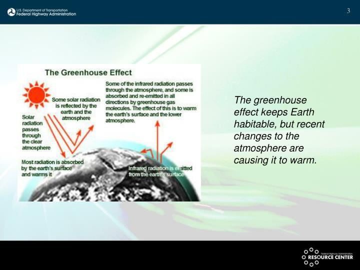 The greenhouse effect keeps Earth habitable, but recent changes to the atmosphere are causing it to warm.
