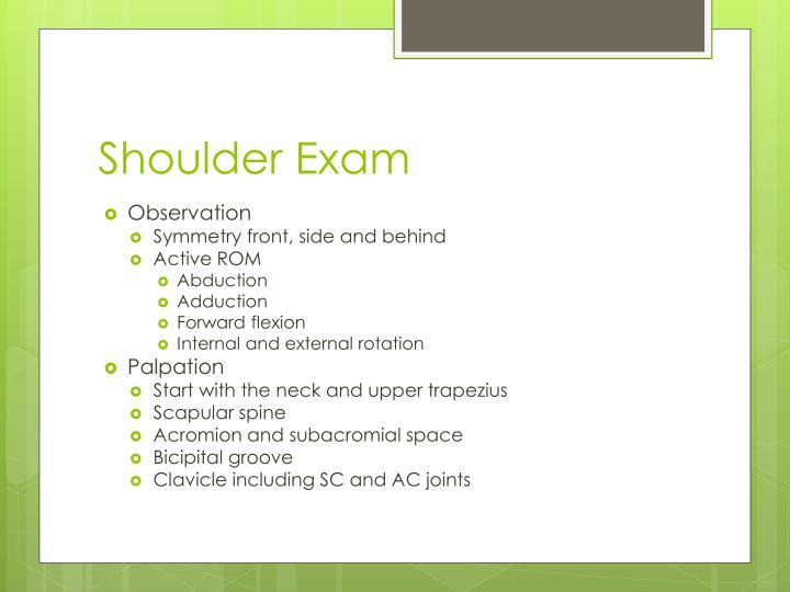 Shoulder Exam