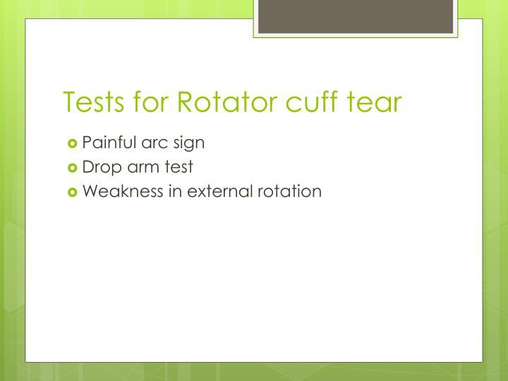Tests for Rotator cuff tear