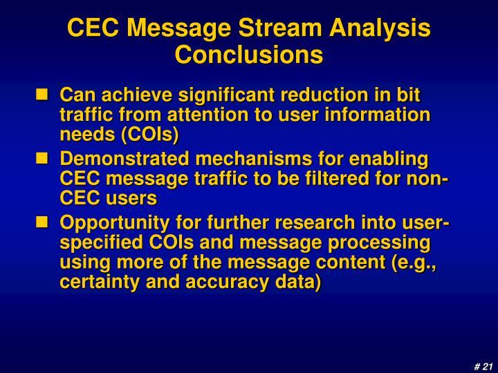 CEC Message Stream Analysis