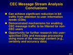 cec message stream analysis conclusions