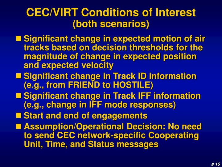 CEC/VIRT Conditions of Interest
