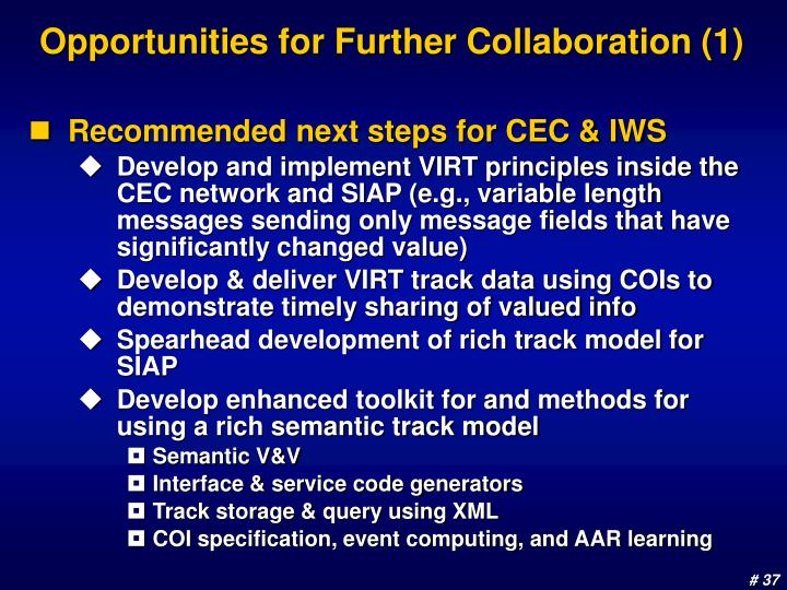 Opportunities for Further Collaboration (1)