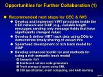 opportunities for further collaboration 1