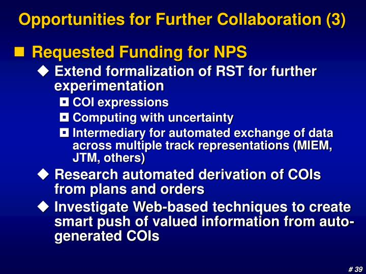 Opportunities for Further Collaboration (3)
