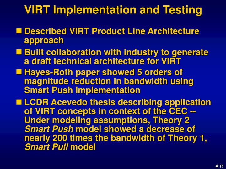 VIRT Implementation and Testing