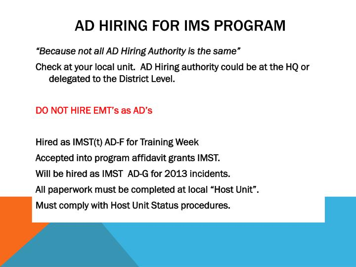 AD HIRING for IMS Program