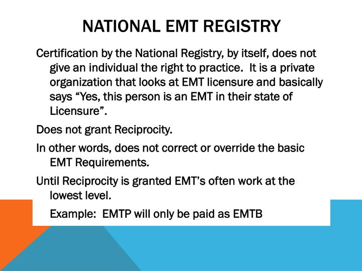 National EMT Registry