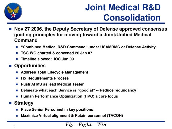 Joint Medical R&D Consolidation