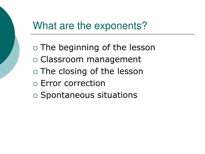 What are the exponents
