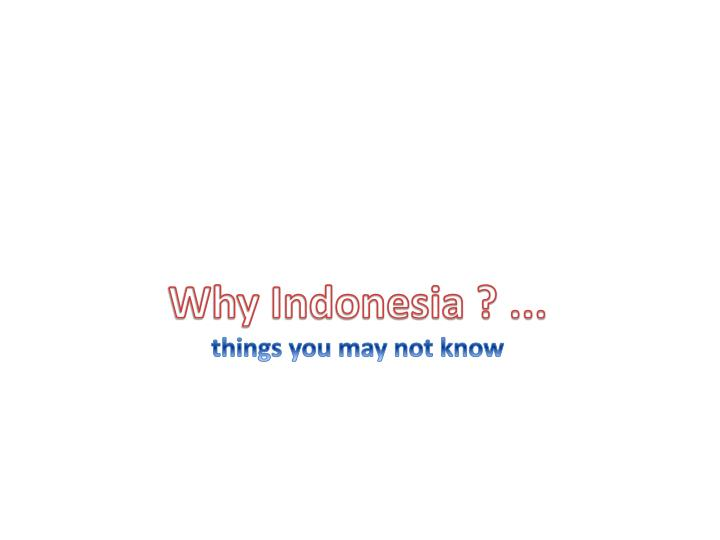 Why Indonesia ? ...