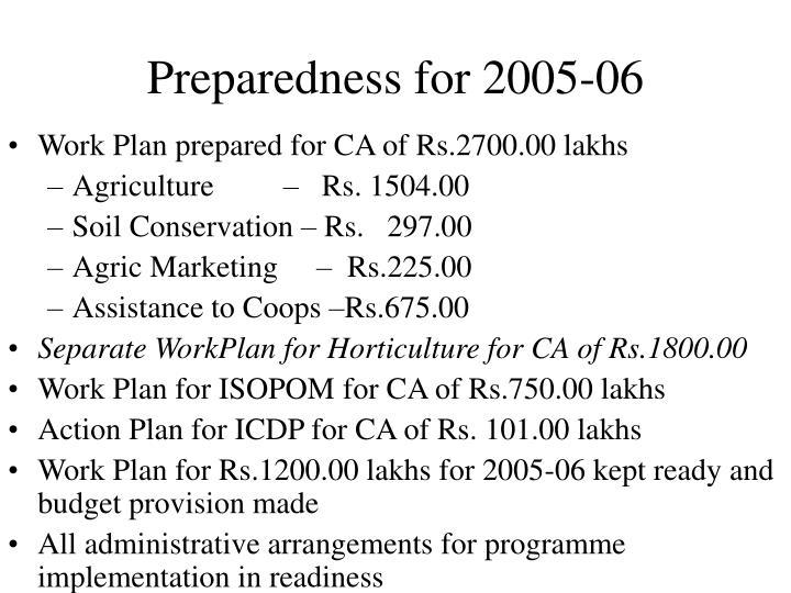 Preparedness for 2005-06