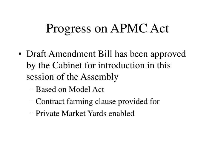 Progress on APMC Act