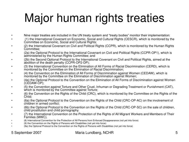 Major human rights treaties