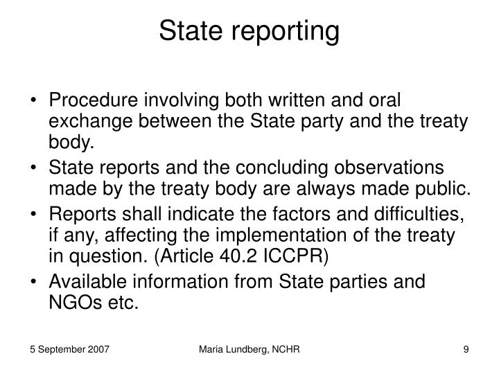 State reporting