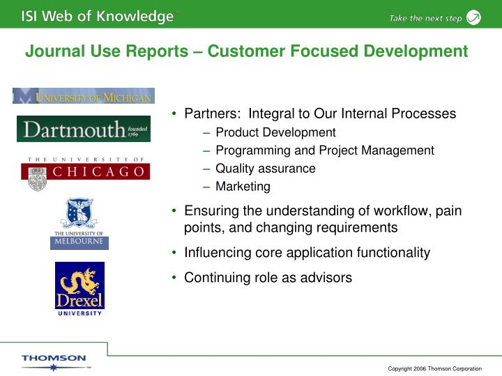 Journal use reports customer focused development
