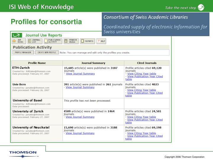 Profiles for consortia