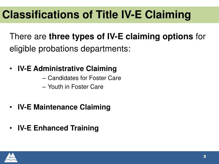 Classifications of Title IV-E Claiming