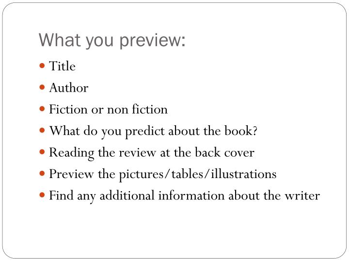 What you preview: