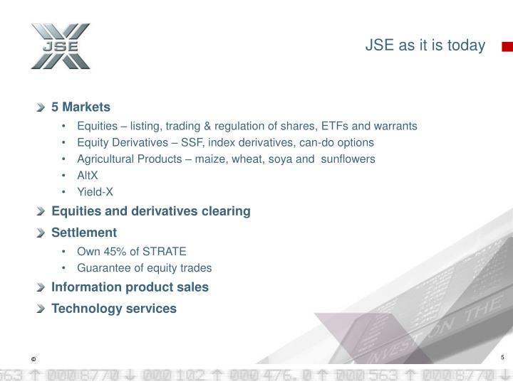 JSE as it is today