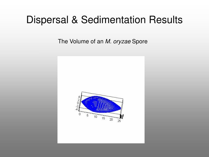 Dispersal & Sedimentation Results