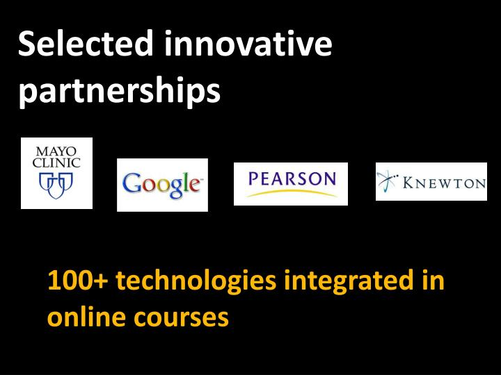 Selected innovative partnerships
