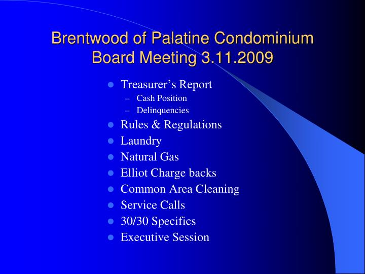 Brentwood of palatine condominium board meeting 3 11 2009