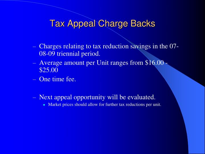 Tax Appeal Charge Backs
