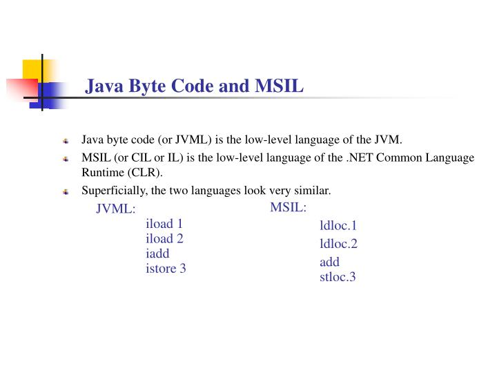Java Byte Code and MSIL