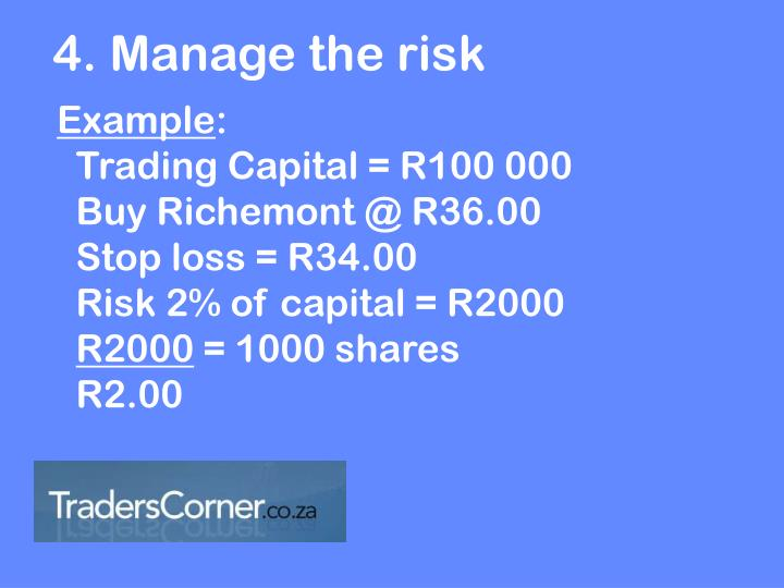 4. Manage the risk