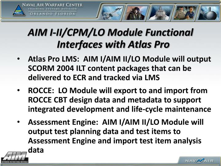 AIM I-II/CPM/LO Module Functional Interfaces with Atlas Pro