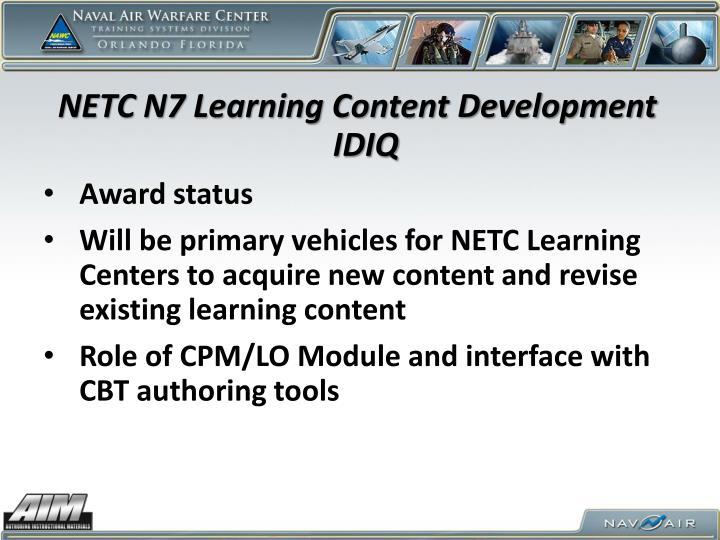 NETC N7 Learning Content Development IDIQ