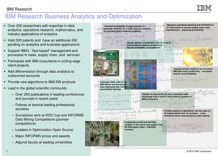 IBM Research Business Analytics and Optimization