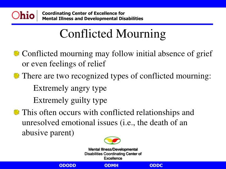 Conflicted mourning may follow initial absence of grief or even feelings of relief