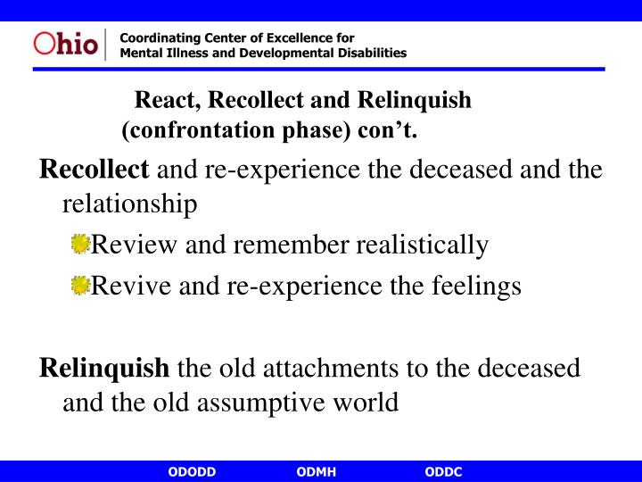 React, Recollect and Relinquish    (confrontation phase) con't.