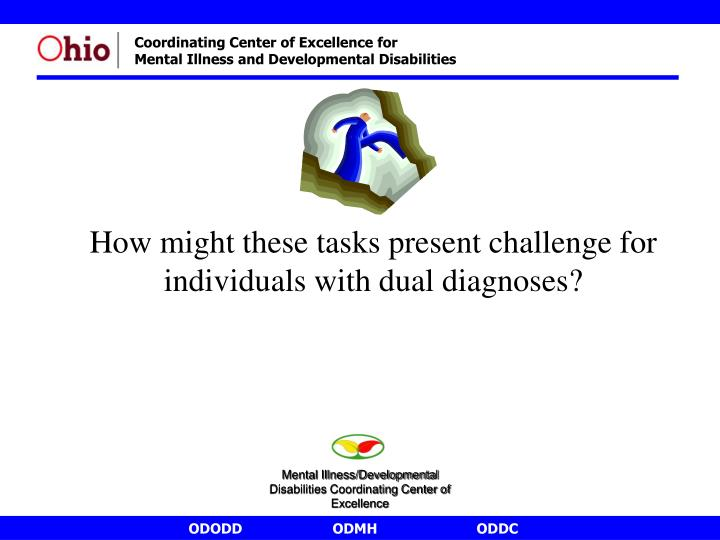 How might these tasks present challenge for individuals with dual diagnoses?