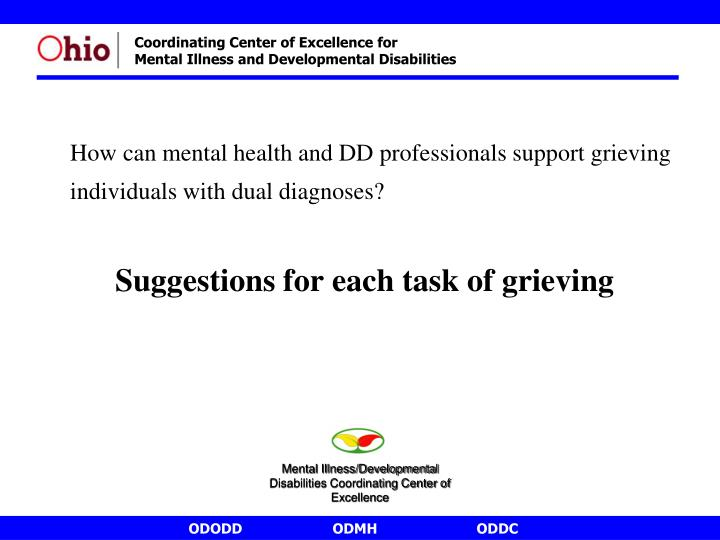 How can mental health and DD professionals support grieving individuals with dual diagnoses?