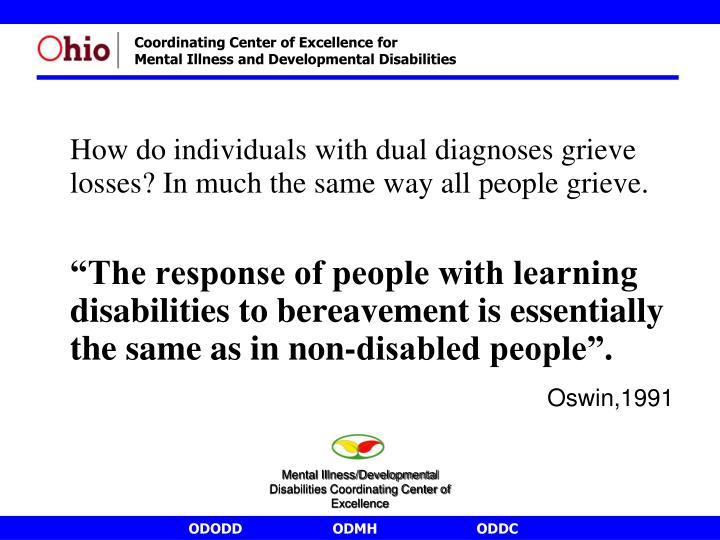 How do individuals with dual diagnoses grieve losses? In much the same way all people grieve.