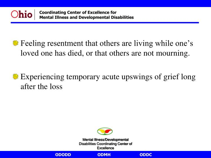 Feeling resentment that others are living while one's loved one has died, or that others are not mourning.