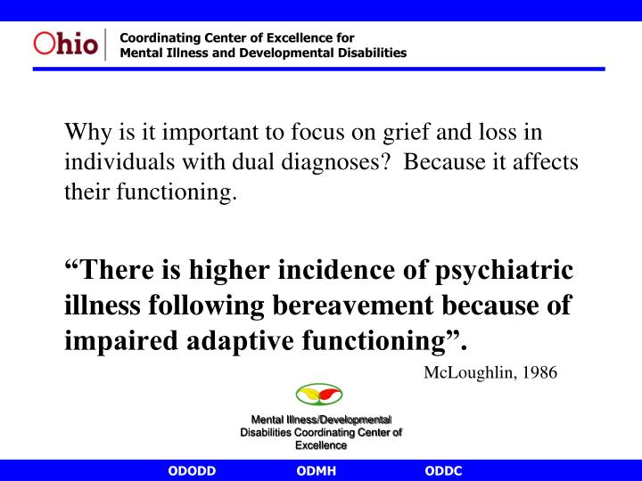 Why is it important to focus on grief and loss in individuals with dual diagnoses?  Because it affects their functioning.