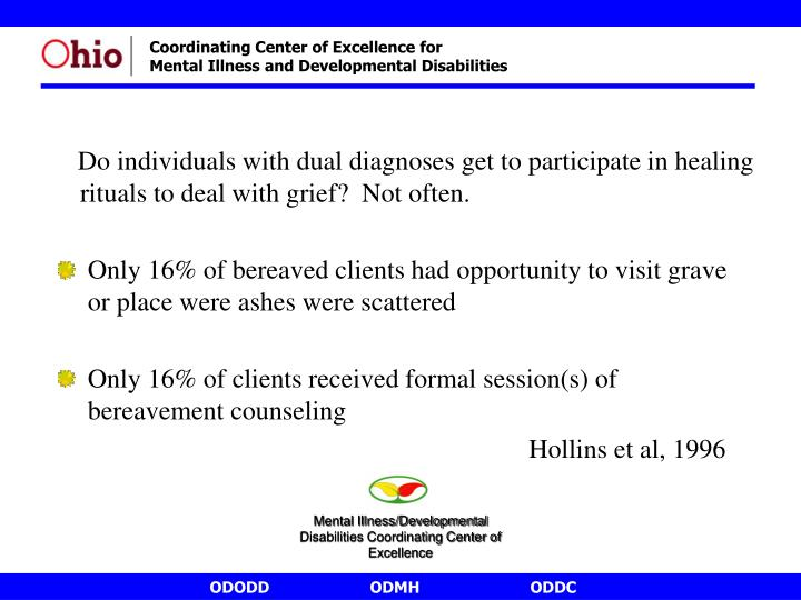 Do individuals with dual diagnoses get to participate in healing rituals to deal with grief?  Not often.