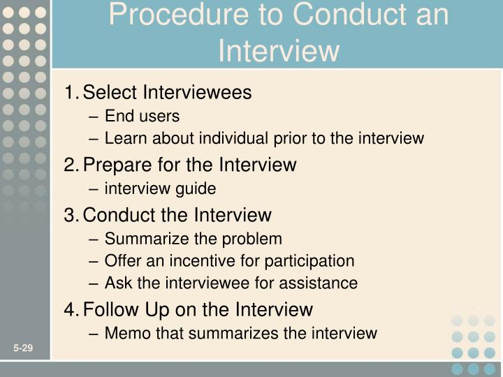 Procedure to Conduct an Interview