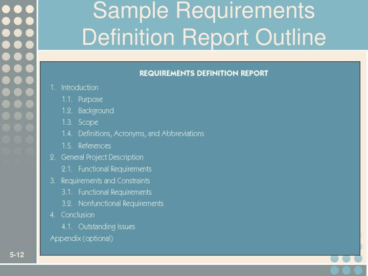 Sample Requirements Definition Report Outline