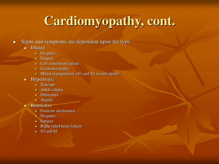 Cardiomyopathy, cont.